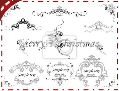 Zestaw elementów i ramki na świąteczne dekoracje