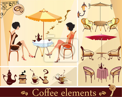 Zestaw elementów kawiarni