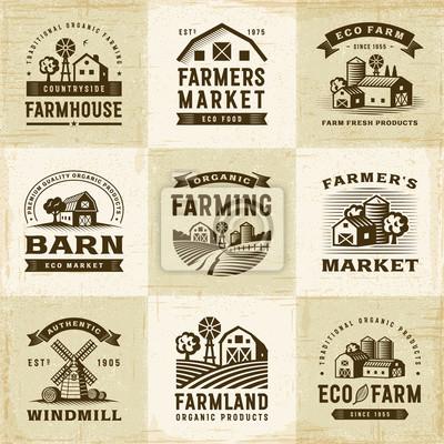 Fototapeta Zestaw etykiet Rolnictwa Ekologicznego Vintage