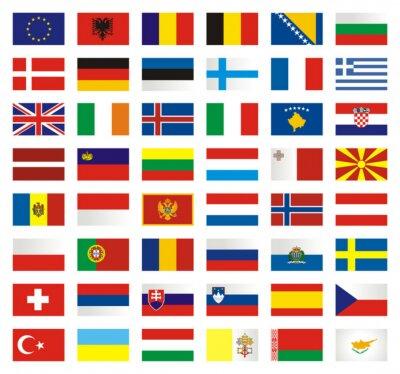 Fototapeta Zestaw flag Europa