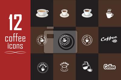 Zestaw ikon kawy na ciemnym tle