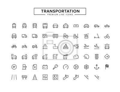 Fototapeta Zestaw ikon konspektu transportowego