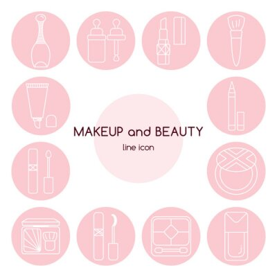 Zestaw ikon makijażu i urody.