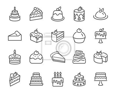 Fototapeta zestaw ikon piekarni, takich jak ciasto, pączki, chleb, ser, ciasto, tarta