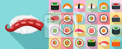 Fototapeta Zestaw ikon roll sushi. Płaski zestaw sushi roll wektorowe ikony na projektowanie stron internetowych