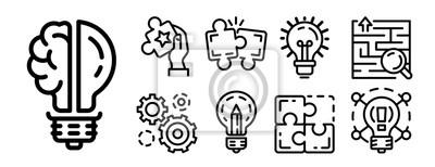 Fototapeta Zestaw ikon rozwiązania. Zarys zestaw ikon wektorowych rozwiązania do projektowania stron internetowych na białym tle