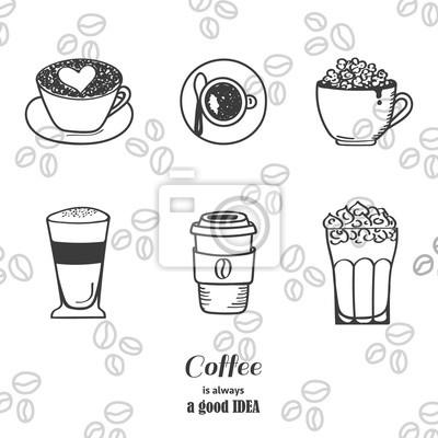 Zestaw ikon rysunku kawy. Ilustracji wektorowych.