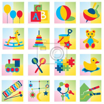 Zestaw ikon szesnaście dzieci zabawki