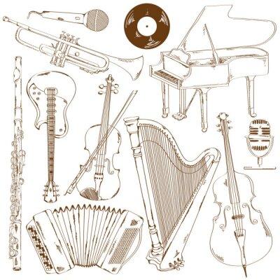 Fototapeta Zestaw instrumentów muzycznych szkicu odizolowanych