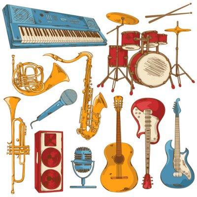 Fototapeta Zestaw izolowanych kolorowych instrumentów muzycznych