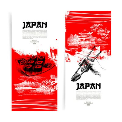 Fototapeta Zestaw japońskiego sushi transparenty. Szkic ilustracji do menu