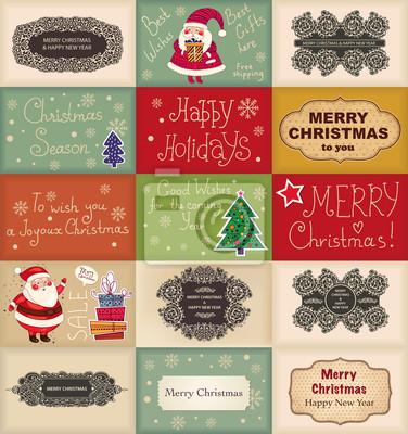 Fototapeta Zestaw kart świątecznych w stylu vintage