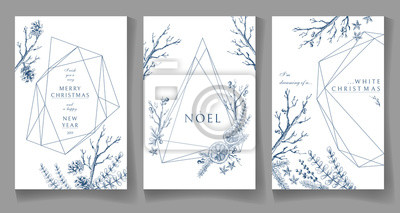 Fototapeta Zestaw kart zimowych, geometryczny, modny design kryształu. Wyciągnąć rękę
