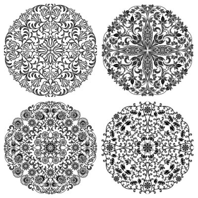 Fototapeta Zestaw kwiatowe wzory