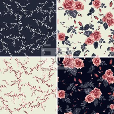 Zestaw kwiatowe wzory bezszwowych z róż i liści.