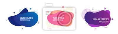 Fototapeta Zestaw modnych kolorowych i efektownych płynnych kształtów. Wektor geometryczne elementy szablonu dla własnych projektów