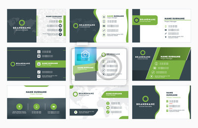Fototapeta Zestaw nowoczesnych wizytówki szablony drukowania. Prywatne wizytówki z logo firmy. ilustracji wektorowych. projektowanie papiernicze