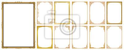 Fototapeta Zestaw ozdobny ramki i zestaw granic, złota ramka z rogu Tajlandia linia kwiatowy na obraz, wektor wzór ozdoba wzór. projekt granicy jest wzór stylu tajskim sztuki