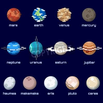 Fototapeta Zestaw planet, w tym planet karłowatych, w stylu retro piksele. Grafiki są pogrupowane w kilka warstw na łatwy montaż. Plik może być skalowane do dowolnego rozmiaru.
