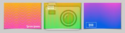 Fototapeta Zestaw poziome abstrakcyjne tła z półtonów wzór w neonowych kolorach. Kolekcja gradientowych tekstur z ornamentem geometrycznym. Szablon projektu ulotki, baner, okładka, plakat