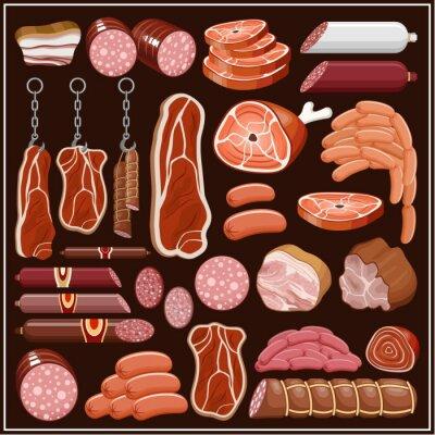 Fototapeta Zestaw produktów mięsnych.