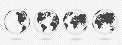 Fototapeta Zestaw przezroczystych kul ziemskich. Realistyczna mapa świata w kształcie kuli ziemskiej z przezroczystą teksturą i cieniem