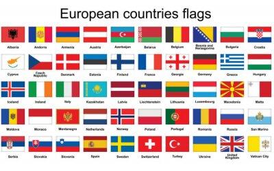 Fototapeta zestaw przycisków prostokąt Flagi państw europejskich