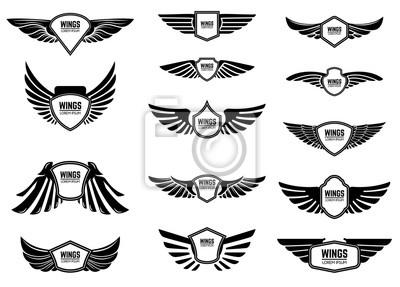Fototapeta Zestaw puste emblematy ze skrzydłami. Projektowanie elementów godło, znak, logo, etykieta.