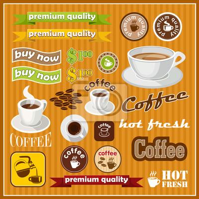 Zestaw rocznika kawy i herbaty ikony