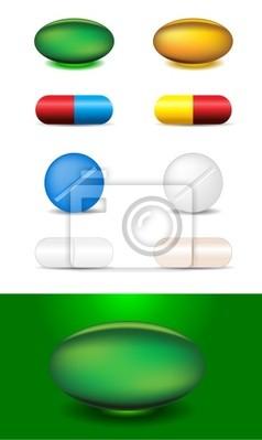 zestaw różnych kapsułek i leków