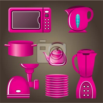 Zestaw różowy naczyń i urządzeń kuchennych.