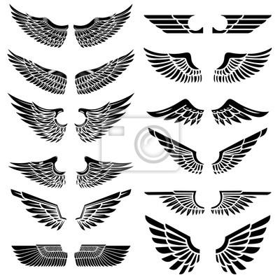 Fototapeta Zestaw skrzydeł samodzielnie na białym tle. Elementy projektu na logo, etykiecie, godło, znak, odznaka. Ilustracji wektorowych