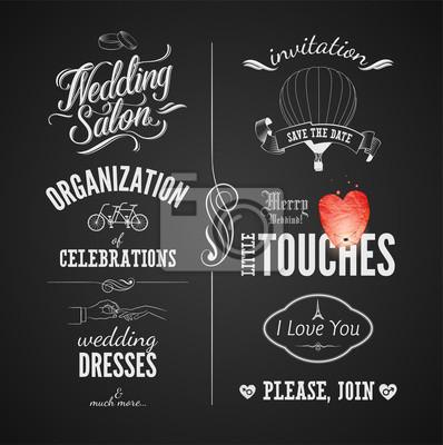 Zestaw ślubnych zabytkowych elementów typograficznych na tablicy