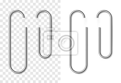 Fototapeta Zestaw srebrny metalik realistyczne spinacza do papieru
