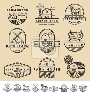 Fototapeta Zestaw starych i nowoczesnych farm znaczek logo i etykiet. ilustracji wektorowych