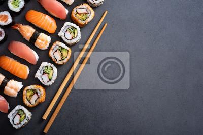 Fototapeta Zestaw sushi żywności z miejsca kopiowania
