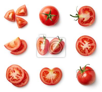 Fototapeta Zestaw świeżych całych i krojonych pomidorów