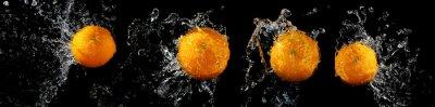 Fototapeta Zestaw świeżych pomarańczy w plusk wody