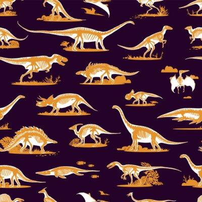 Fototapeta Zestaw, sylwetki, dino szkielety, dinozaury, skamieliny. Ręcznie rysowane ilustracji wektorowych. Porównanie rozmiarów, realistyczny zestaw szkiców: diplodocus, triceratops, tyrannosaurus, wzór doodle