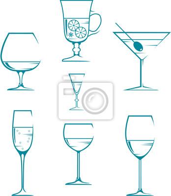 Zestaw symboli i ikon, okulary dla napojów alkoholowych
