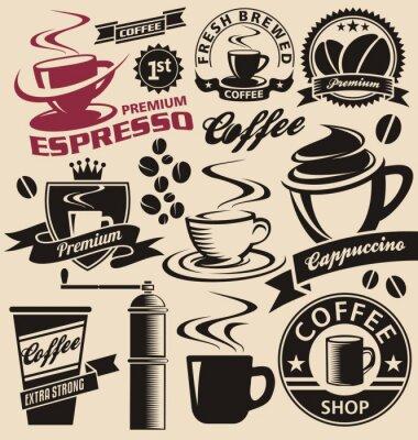 Fototapeta Zestaw symboli kawy, ikon i znaków