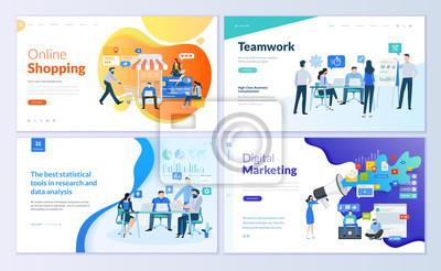 Fototapeta Zestaw szablonów stron internetowych do zakupów online, marketingu cyfrowego, pracy zespołowej, strategii biznesowej i analityki. Nowoczesne koncepcje wektorowe ilustracji do rozwoju strony internetow