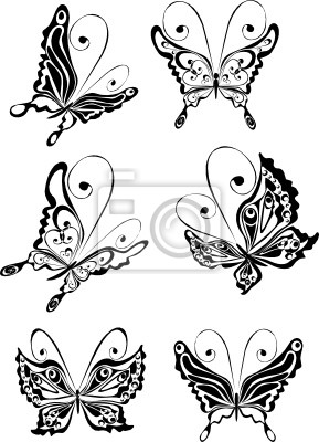 Fototapeta Zestaw Tatuaż Motyla Na Wymiar Czarny Sztuka Piękno
