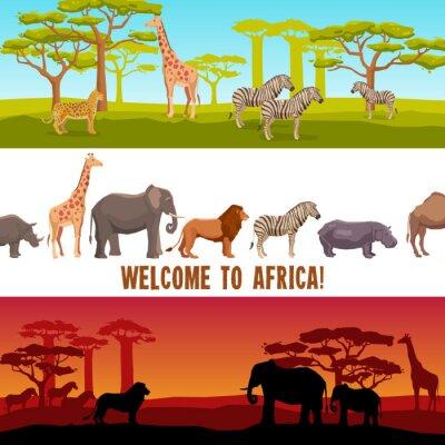 Fototapeta Zestaw transparenty poziome afrykańskie zwierzęta