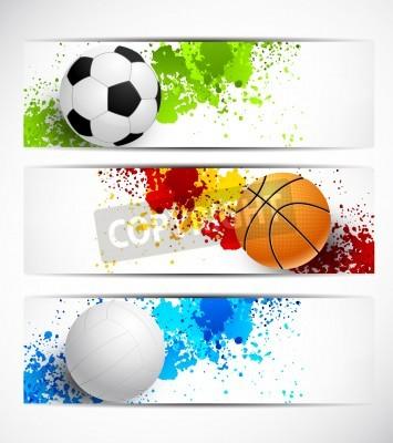 Fototapeta Zestaw transparenty z kulkami sportowych