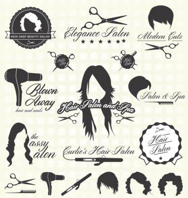 Fototapeta Zestaw Vector: Retro Etykiety salon fryzjerski i ikony
