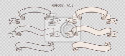 Fototapeta Zestaw vintage ręcznie rysowane wstążki na pozorne przezroczyste tło. Kolekcja retro etykiet, banerów i elementów logo. Projekt logotypu. Ilustracji wektorowych.