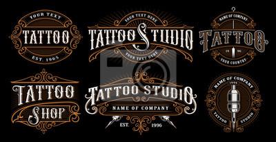 Fototapeta Zestaw vintage tatuaż emblematy (WERSJA NA CIEMNYM TLE)