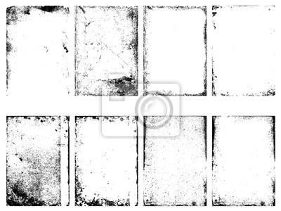 Fototapeta Zestaw wektora grunge tekstury na białym tle.