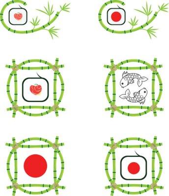 Fototapeta Zestaw wektora logo z dwóch ryb, bambusa i sushi